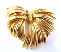 Vintage 60's Gathered Draped Bow Brooch By Grosse.